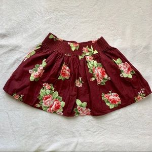 Hollister maroon floral mini skirt size S